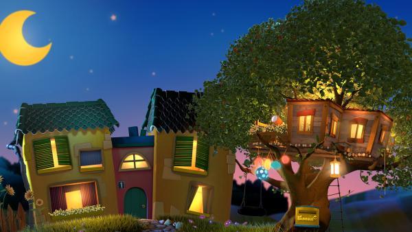 Das Gute Nacht Haus (links) Mit Dem Baumhaus (rechts).