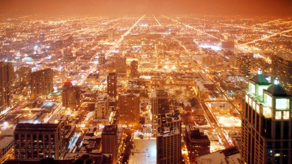 Aerial view of Chicago city illuminated at night viewed from Sears Tower, Illinois, U.S.A. | Rechte: Coloubox.com / Celso Diniz