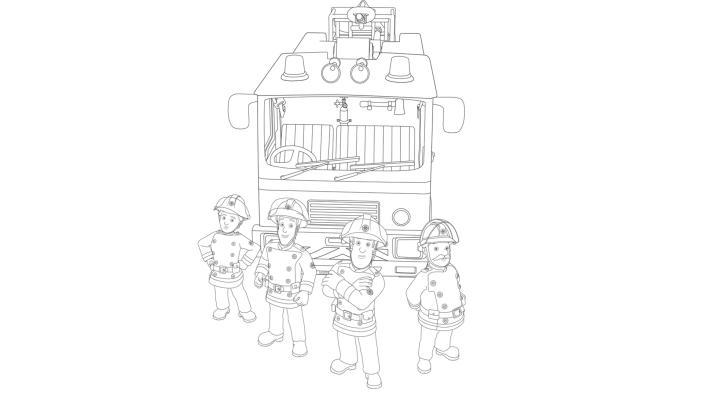 KiKA - Ausmalbild Feuerwehrmann Sam