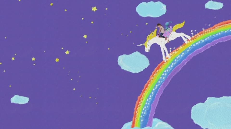 Kika Auf Einem Einhorn über Den Regenbogen