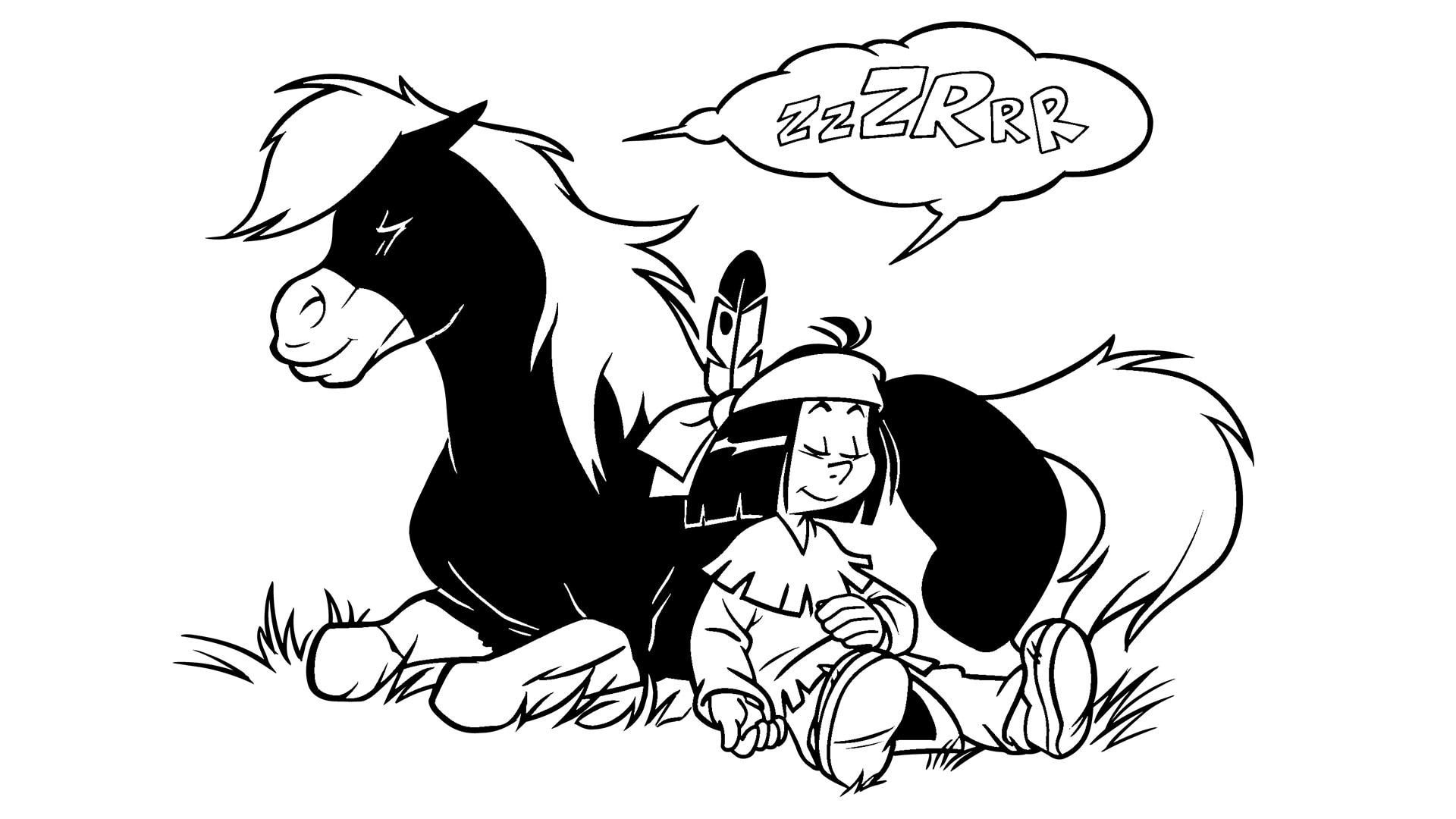 Kleiner Donner liegt mit geschlossenen Augen im Gras Yakari sitzt mit dem Rücken an ihn